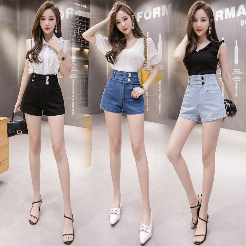 Woman Shorts High Waist Elastic Skinny Jeans Short Korean Style Solid Button Fly Sashes Pockets Female Denim Shorts 2020 Fashion