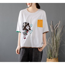 Women T-Shirt Summer Vintage All-Match Tops Loose Large Size Round Neck Cartoon Embroidery Ripped Patchwork Short Sleeve Tees