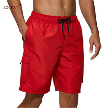Shorts Swim-Trunks Beach-Board Pockets Surf-Pants Quick-Dry Men's Solid with Mesh-Lining