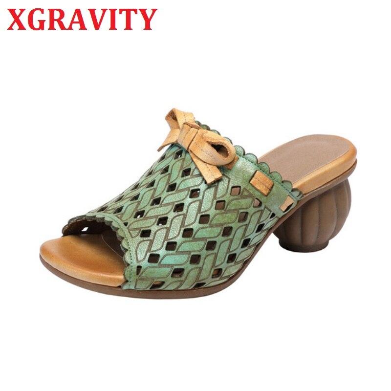 XGRAVITY/обувь с открытым носком; Тапочки из натуральной кожи на высоком каблуке; Женская обувь в этническом стиле с изображением тыквы; Женская обувь с перфорацией; A045|Тапочки|   | АлиЭкспресс