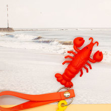 Hot sale Simulated crayfish Key Ring PVC Soft rope lobster Chain men and women Car keychain pendant #LS1908053