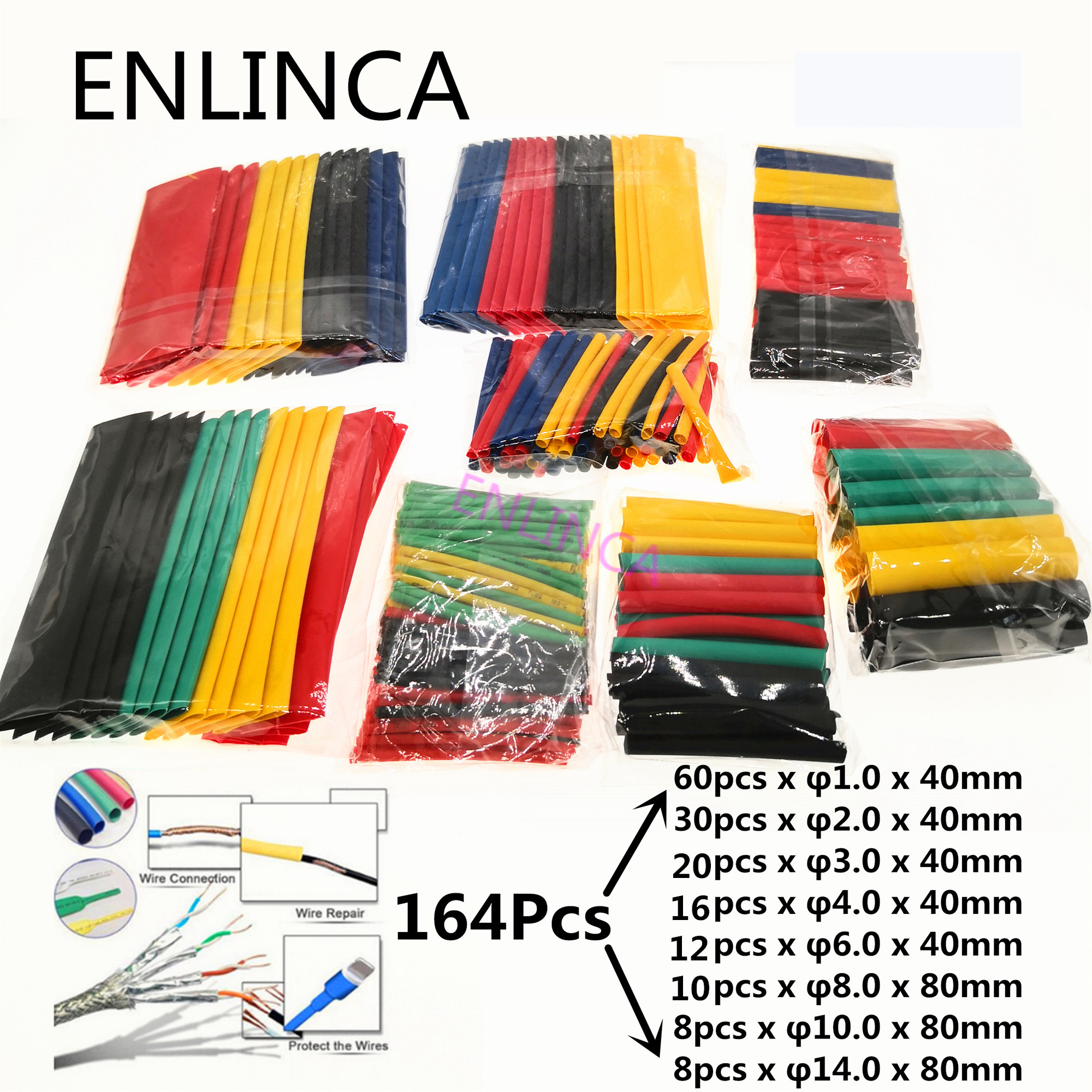 127-164pcs Heat Shrink Tube Kit Insulation Sleeving Termoretractil Polyolefin Shrinking Assorted Heat Shrink Tubing Wire Cable