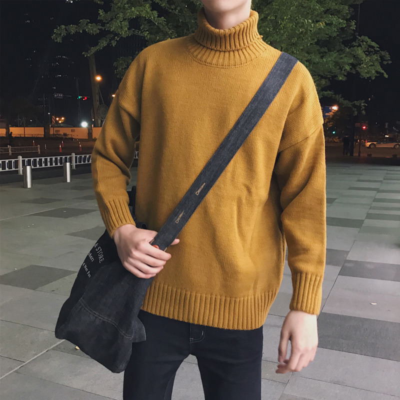 Winter Turtleneck Sweater Men's Slim Warm Fashion Solid Color Casual Knit Pullover Man Long Sleeve Sweater Male Clothes S-2XL