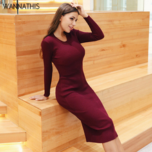 WannaThis Sexy Party Women Pencil Dress Ribbed Knitted Cotton Knee-Length Autumn Winter 2019 Slim Solid O-Neck Elegant Dresses
