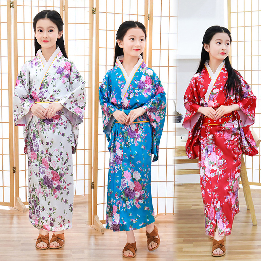 Satin Japanese Traditional Costumes Kids Girls Kimono Dress Oriental Spa Harajuku Princess Girls Yukata Performance Clothing