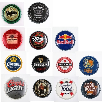 Round Beer Bottle Caps Metal Tin Signs Capsules Plates Retro Wall Art Plaque Vintage Cafe Bar Pub Corona Home Decor dad s barbecue decorative signs beer bbq plaque metal vintage wall bar home art retro restaurant decor 30x20cm du 6034a