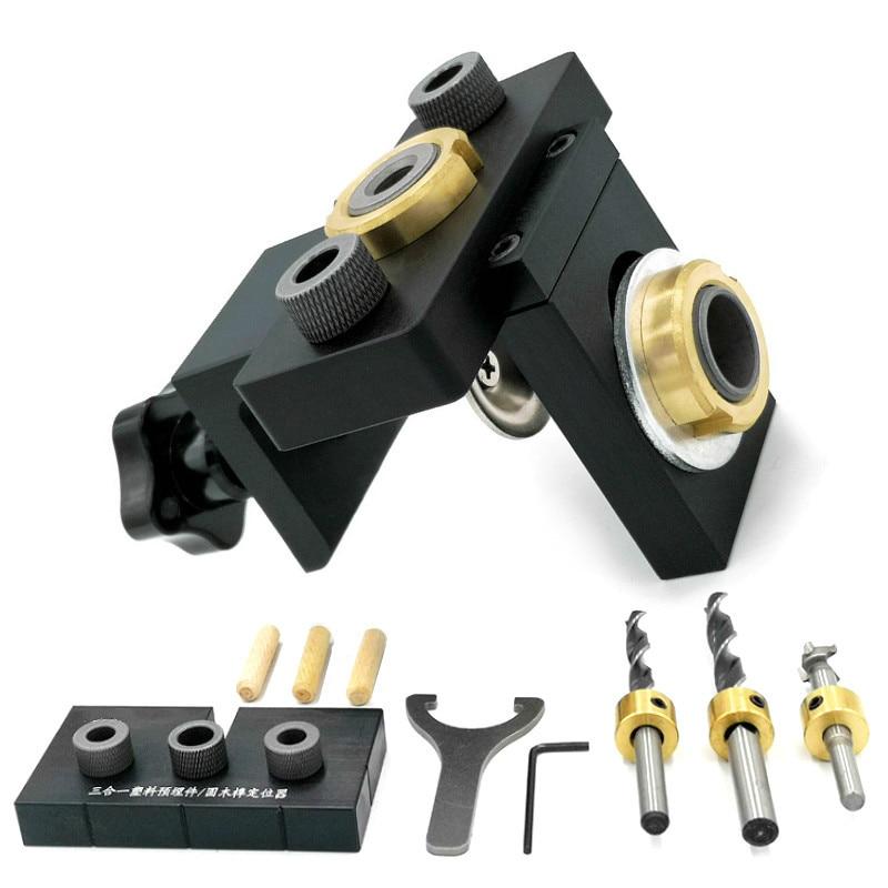 3 в 1 регулируемое устройство Doweling деревообрабатывающий карман отверстие джиг с 8/15 мм, буровое долото из высокопрочной стали для бурения рук...