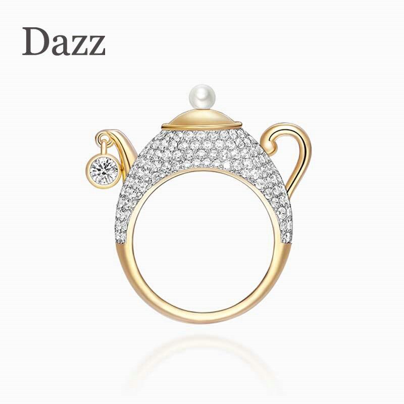 Dazz nouveau nom de marque Design de luxe théière couleur or anneau AAA Zircon perle bijoux pour hommes femmes fête vacances cadeau d'anniversaire 2019