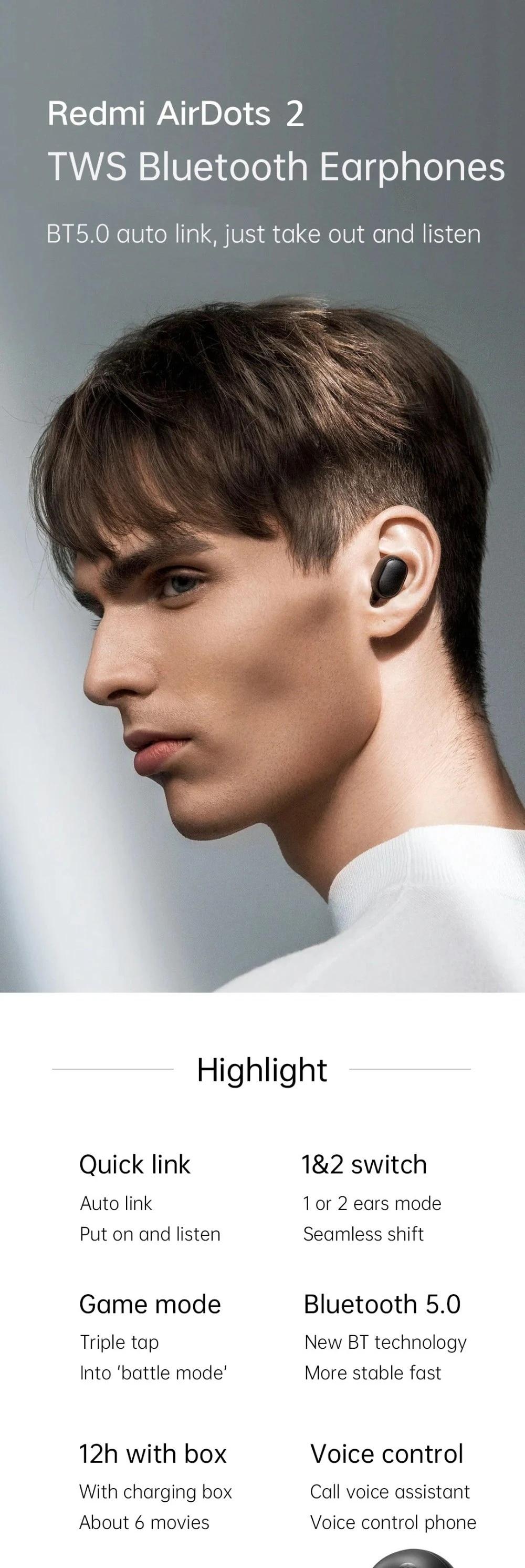 In Stock Xiaomi Redmi AirDots 2 Wireless Bluetooth 5.0 Charging Earphone In-Ear stereo bass Earphones Ture Wireless Earbuds AI Control (1)