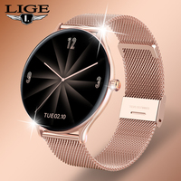LIGE 2021 New Fashion Women Smart Watch 2021 Full Touch Round Screen Smartwatch for Woman Heart Rate Monitor For Android and IOS 1