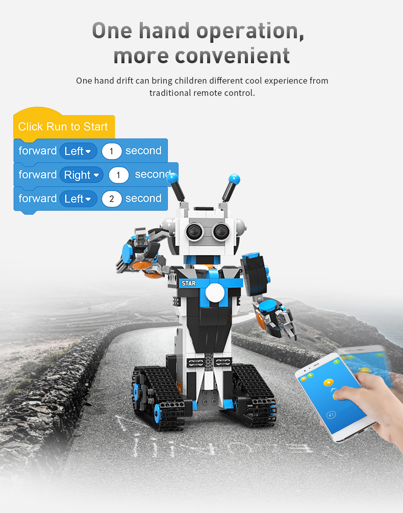 Programmable Intelligent Robot Building Block Stem Toys Science And Education Mobile Remote Control Birthday Gifts For Children