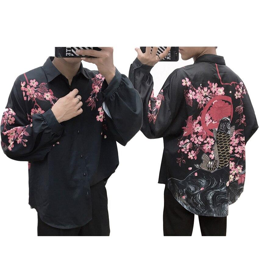 Plus Size Thick Kimono Shirt For Men Samurai Japanese Harajuku Dragon Carp 3D Print Full Sleeve Oversize Shirt Autumn Outfits