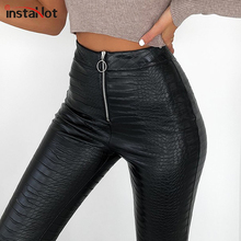 InstaHot Elegant High Waist Faux Leather Pants Women Pencil Skinny Pants Office Ladies Trousers Casual Slim Black Capris 2019 cheap Polyester Ankle-Length Pants 90523 Solid Pencil Pants Flat Vintage Zipper Fly S M L Carving Printed Leather pants Shiny Skinny Pencil Pants