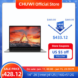 CHUWI GemiBook Pro 14 inch 2K Screen Laptop 16GB RAM 512GB SSD Intel Celeron Quad Core Windows 10 Computer with Backlit Keyboard