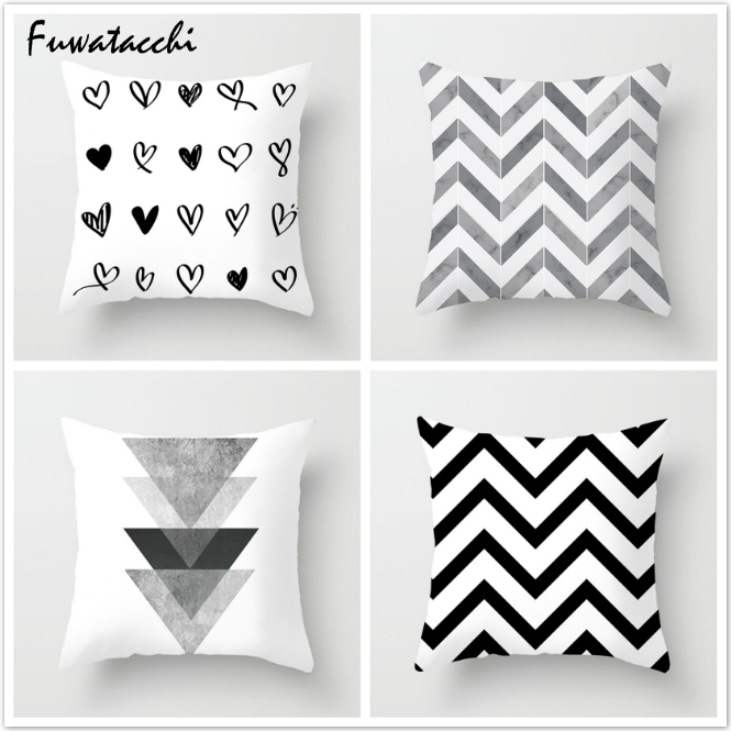 Fuwatacchi White And Black Stripe Wove Dot Wave Love Pillow Case Various Geometric Cushion Cover Decorative Pillows Cover 2019
