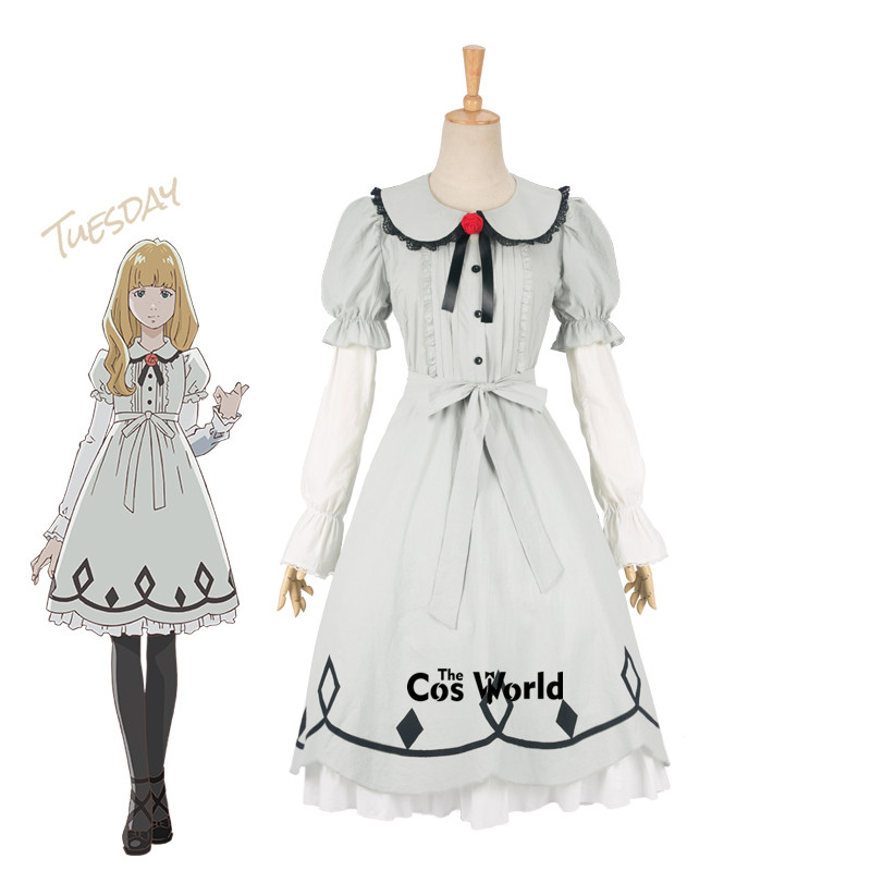 Anime CAROLE /& TUESDAY Unisex Cosplay Clothing Full Set Bowknot Lolita Dress