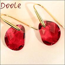 High Quality 2020 Fashion Jewelry Pea Teardrop Red Drop Crystal Shape Pendant Earrings, send to a friend jewelry gift