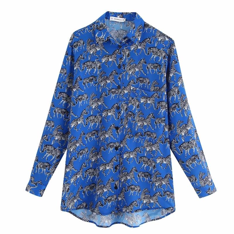 2020 autumn women fashion zerbra print casual business blouses ladies long sleeve animal pattern shirts office wear tops LS3932