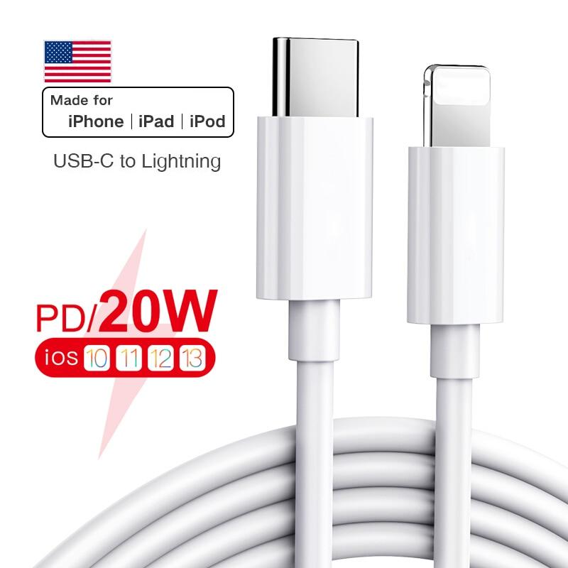 Оригинальный Apple PD 20 Вт USB Type C кабель для Apple iPhone 12 11 Pro Xs Max XR Быстрая зарядка зарядное устройство для MacBook iPad Pro 11 USB C кабель для передачи данных