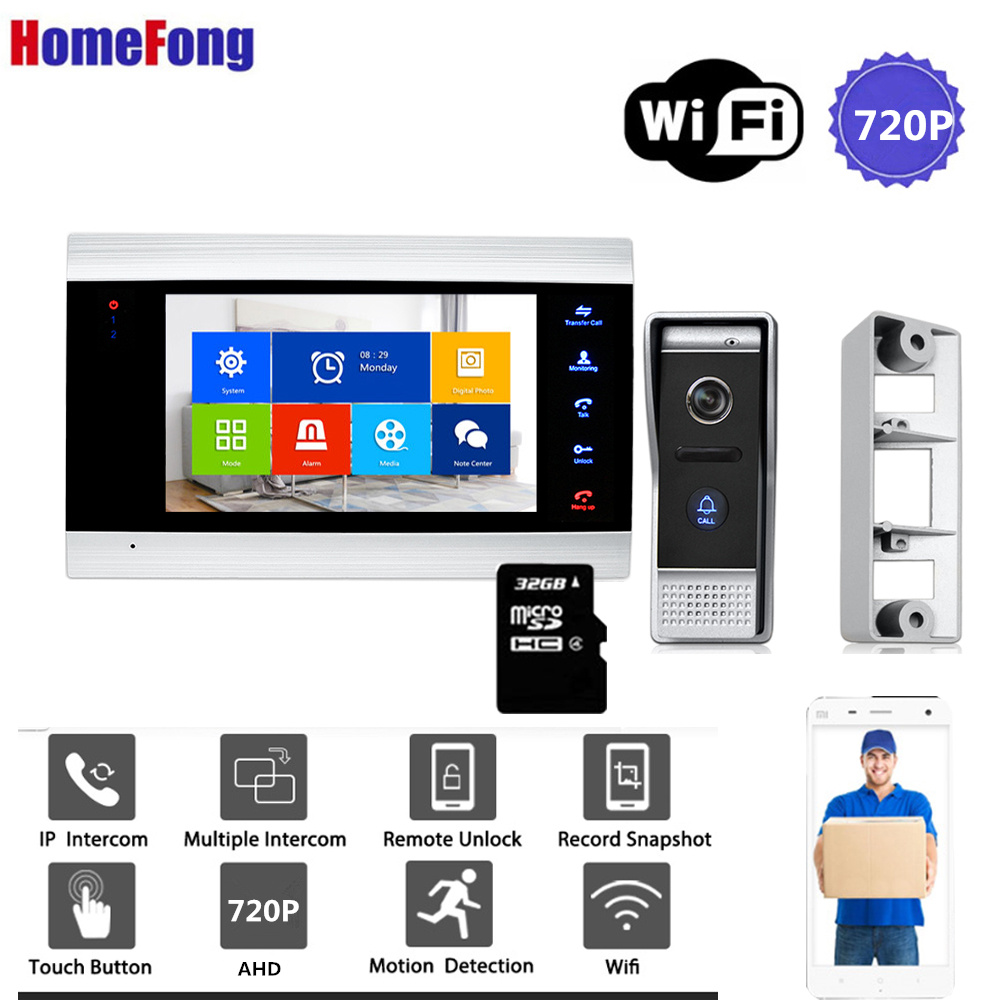 Homefong WIfi Video Door Phone Video Intercom AHD720P Motion Record Wide Angle  Bell Ring Security Home System Access Control