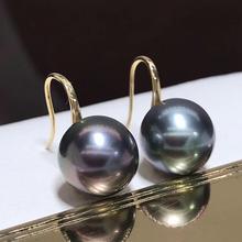 ファインジュエリー純粋な 18 18k イエローゴールド 10 ミリメートルナチュラルタヒチオーシャングリーンラウンド真珠のイヤリングのための真珠イヤリング