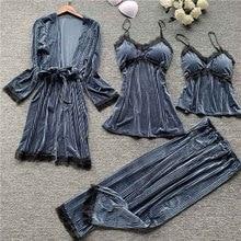 Бархатная пижама из 4 предметов золотого цвета, женская пижама, теплые зимние пижамные комплекты, сексуальный кружевной халат, домашняя одежда с накладкой на грудь, домашний сервис