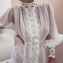 цена на Paris Girl Bodycon Dress Female Lantern Long Sleeve High Waist Hollow Out Ruffle Hem Shirt Dresses Women Autumn Fashion