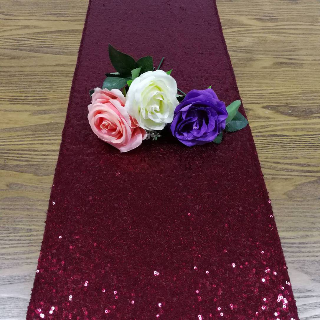 12x108-Inch Glitter Table Runner Burgundy Sequin Table Runners Christmas Decoration For Home Table Setting New Year-M1014