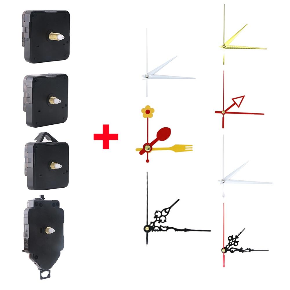 Non-ticking Long Spindle Quartz Pendulum Clock Movement Motor Mechanism Wall Hanger Hook Metal Hands Pointer DIY Repair Fitting