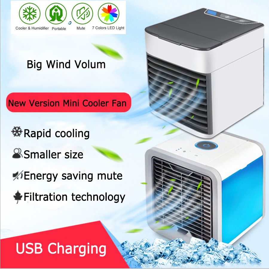 Portable Mini Fan Air Conditioner Conditioning Air Humidifier Purifier USB 7 Colors LED Desktop Cooler Fan For Home Office Fans