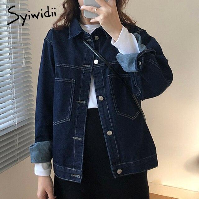 Syiwidii Vintage Jean Jacket for Women Bright Line Wash Blue Denim Jacket Grils New Spring Fall Big Pocket Retro Jeans Coat