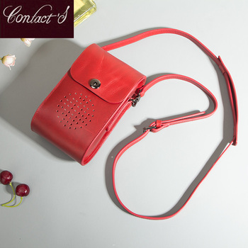 Genuine Leather Women Crossbody Bags Mini Red  Luxury Handbags Phone Bag Small Female Shoulder Ladies Messenger