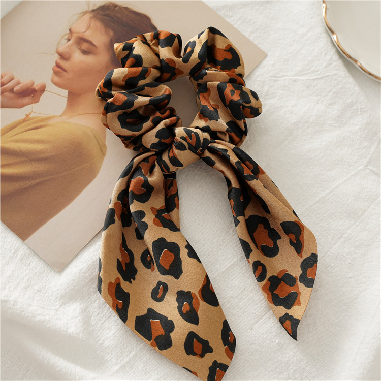 H38340641a5754767b39a5c3a7c361086o - Fashion Feamle Bow Knotted Hair Rope Long Streamer Scrunchies Vintage Leopard Girls Hairband Hair Scarf Hair Accessories