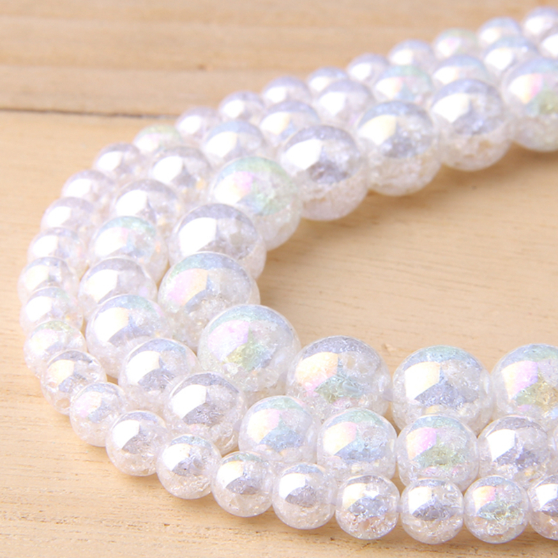 6/8/10/12 MM Natural AB Color White Snow Cracked Crystal Stone Round Loose Beads For Jewelry Making diy bracelet necklace glass(China)