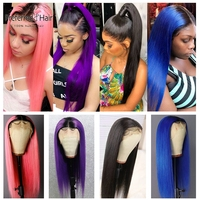 Preferred Purple Pink Human Hair Wig Preplucked Ombre Straight Lace Front Wig Brazilian Remy Transparent Lace Wigs For Women