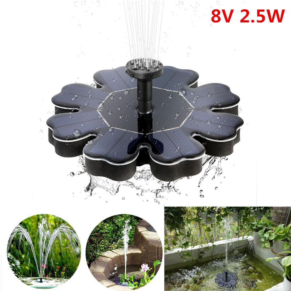 HiMISS 2.5W Solar Water Fountain Flower-shape Solar Powered Pump Fountain Floating for Outdoor Pool Garden Decoration