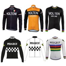 maillot ciclismo Retro long sleeve man cycling jersey Winter Fleece or no clothing MTB go pro wear bike