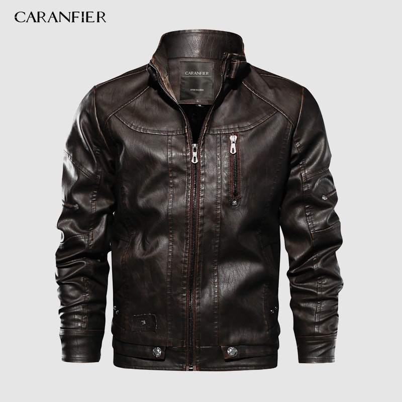 CARANFIER Brand Tactical PU Leather Jacket Mens Euro Size S-XXL Stand Collar Motorcycle Leather Jacket Male Coats Drop Shipping