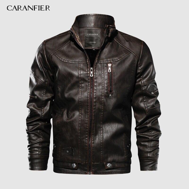 CARANFIER Marke Taktische PU Leder Jacke Herren Euro Größe S-XXL Stehen Kragen Motorrad Leder Jacke Männlichen Mäntel Tropfen Verschiffen