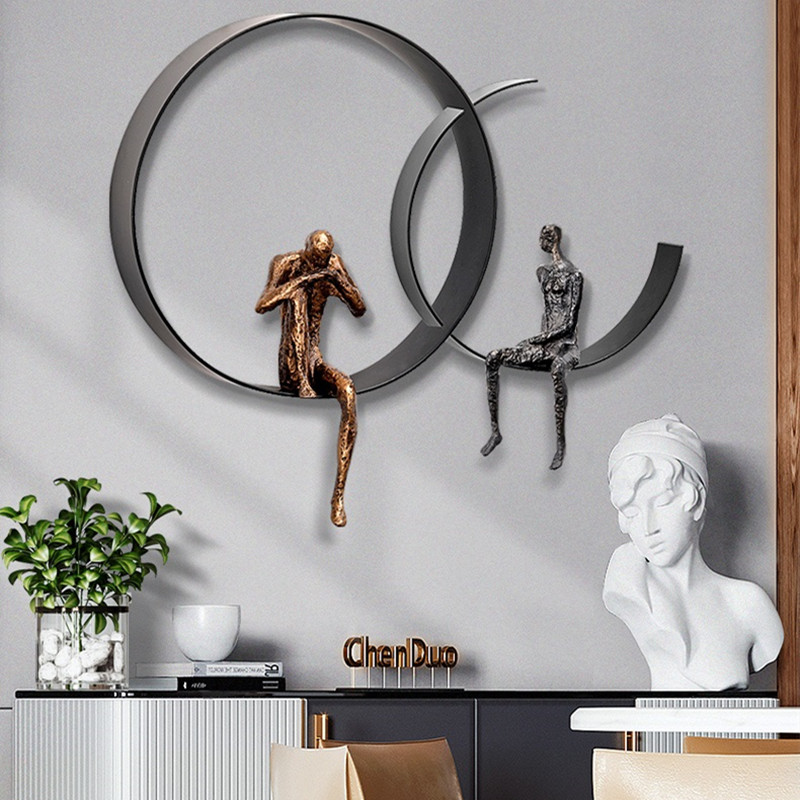 Creative Thinker Figure 3D Stereo Wall Hanging Home Decorative Modern Wrought Iron Crafts Background Decoration Ornaments R4344