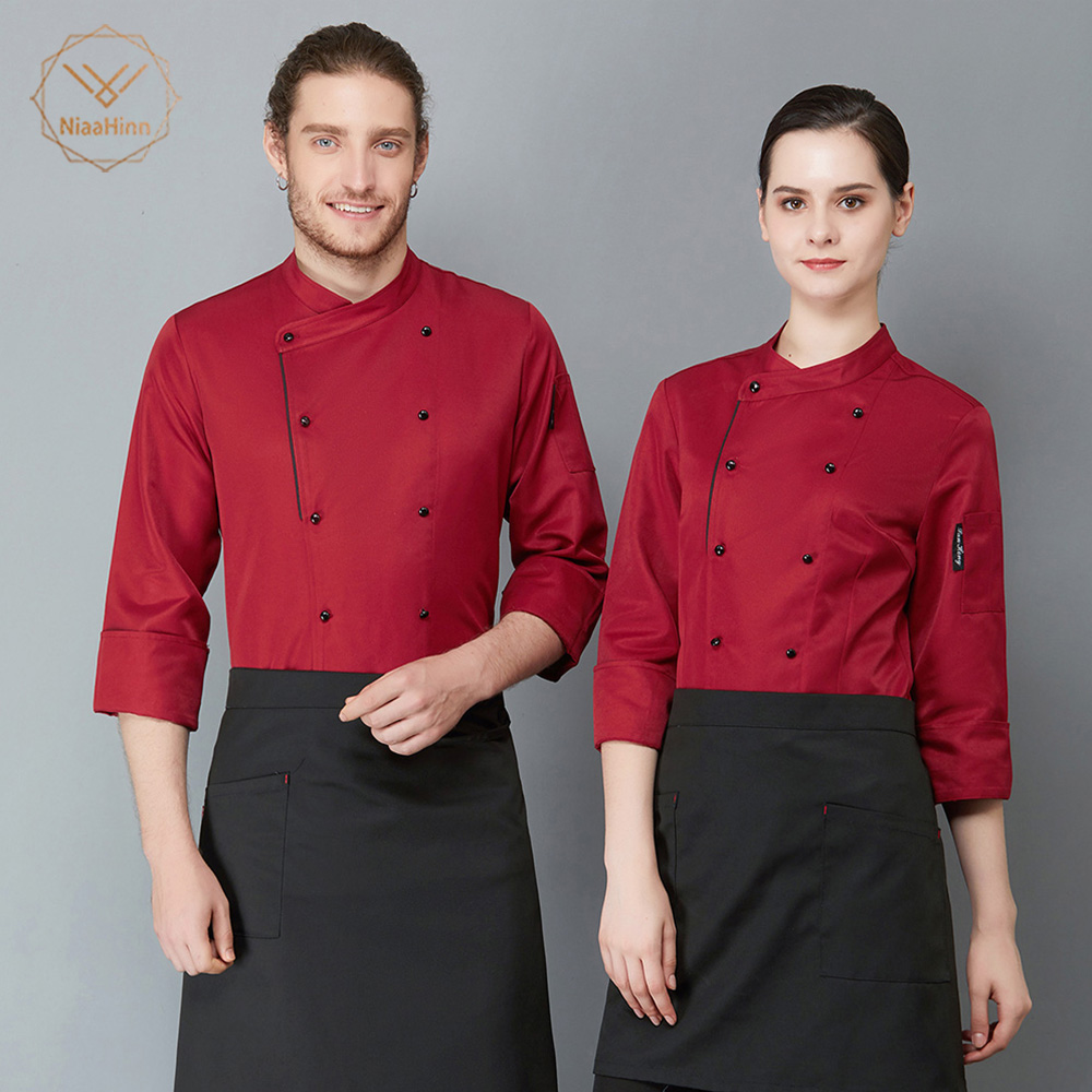 New High Quality Chef Uniforms Clothing Long Sleeve Restaurant Uniform Men Women Food Services Chef Clothes Chef Jackets Tops