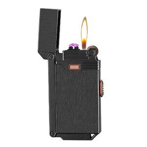 Газовая зажигалка, ветрозащитная зажигалка с двумя дугами, два в одном, надувные зажигалки для курения, подарок для мужчин CL022