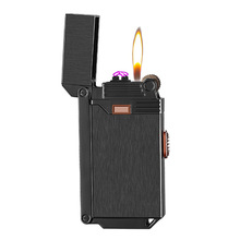 Gas lighter open fire and windproof double arc two in one lighter Inflatable Cigarette Lighters for