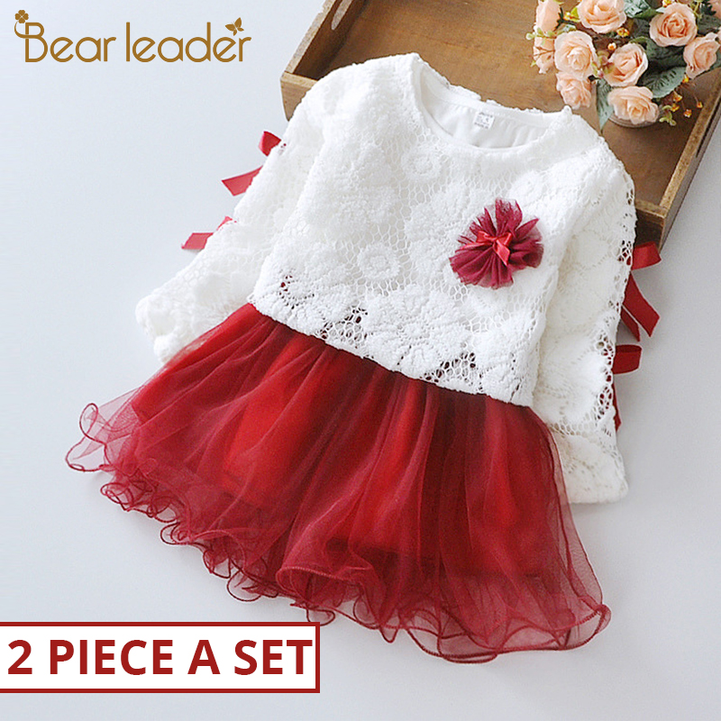 Bear Leader Baby Clothing Sets 2019 Baby Girls Clothes Lace Flower Girls Dress Ball Kids Embroidery Party Princess Dresses 2pcs