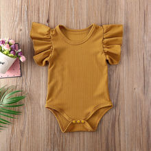 2020 летняя одежда для новорожденных девочек однотонный комбинезон