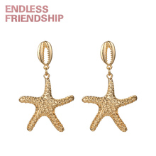 Endless Friendship Gold Seastar Earrings Sea Style Color Pendant for women Party Fashion Mujer Jewelry Dangle Earring