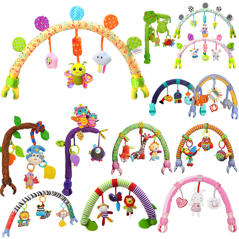 Arched Tree Baby Hanging Toys Stroller Bed Crib Plush Rattles Mobile Cute Animals Monkey Birds Toy For Tots Cots Seat