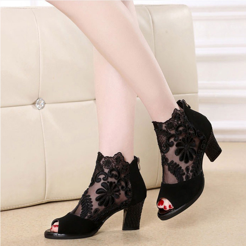 Summer Women Lace Peep Toe Sandals Sexy Pumps Breathable Mesh Single Shoes High Quality PU Platform Classic Party Ladies Shoes