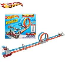 Горячие колеса специальный автомобиль трек длинные супер длинные гоночные дорожки двойной отжим вызов 2 способа строительства Hotwheels трек автомобиль игрушка GFH85
