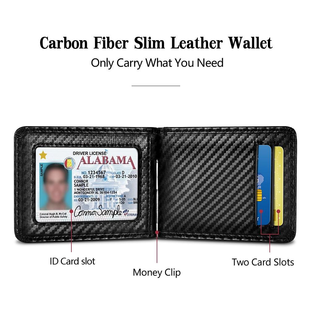 NewBring Black Carbon FIber-Look Money Clip RFID Blocking Driver License ID Cash